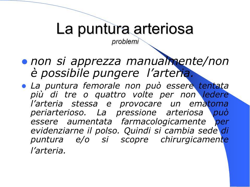 Genova 15 Nov 2003 La puntura arteriosa problemi non si apprezza manualmente/non è possibile pungere larteria. La puntura femorale non può essere tent