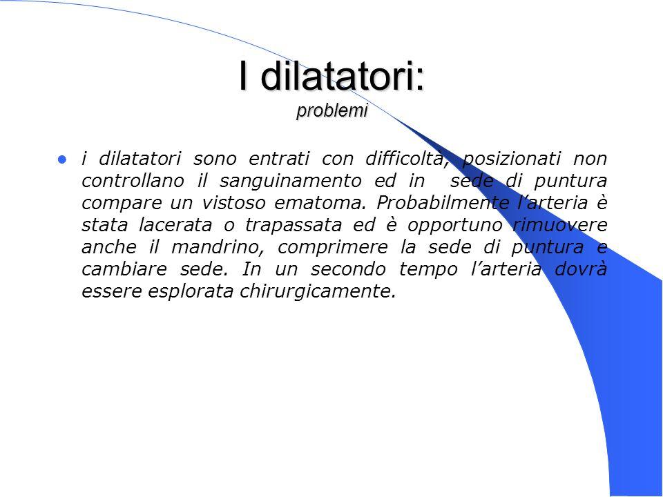Genova 15 Nov 2003 I dilatatori: problemi i dilatatori sono entrati con difficoltà, posizionati non controllano il sanguinamento ed in sede di puntura