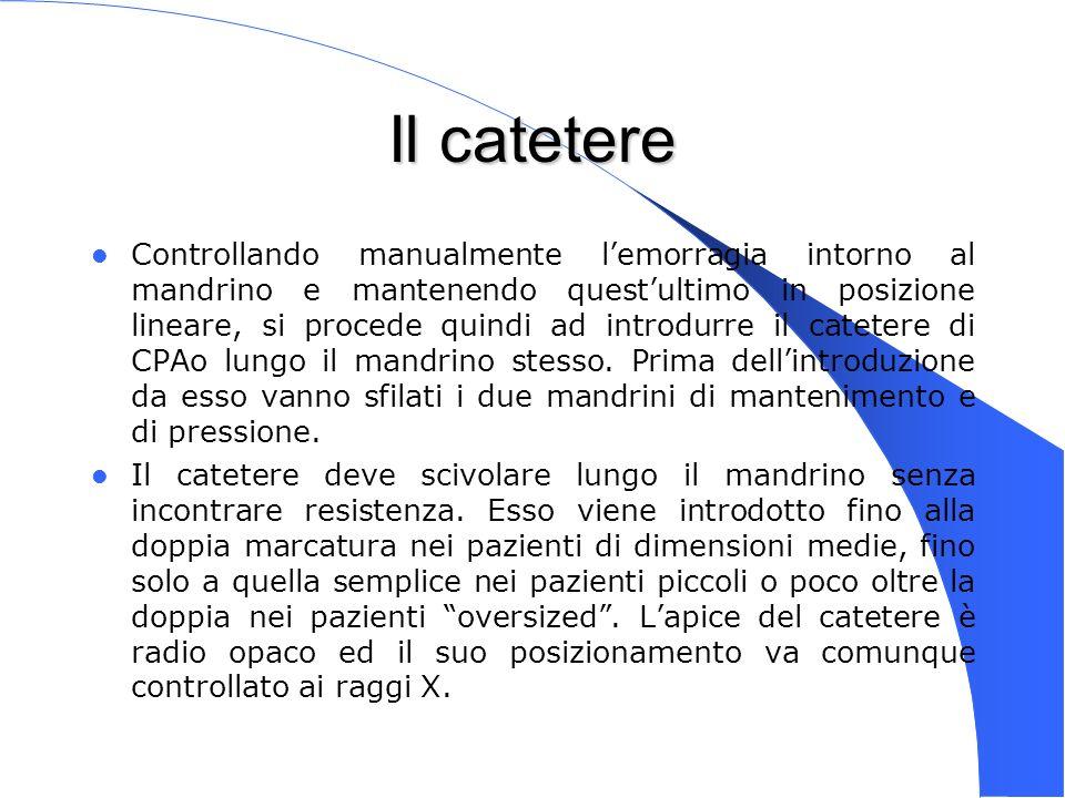 Genova 15 Nov 2003 Il catetere Controllando manualmente lemorragia intorno al mandrino e mantenendo questultimo in posizione lineare, si procede quind