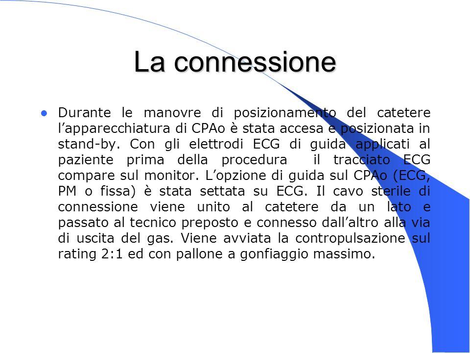 Genova 15 Nov 2003 La connessione Durante le manovre di posizionamento del catetere lapparecchiatura di CPAo è stata accesa e posizionata in stand-by.