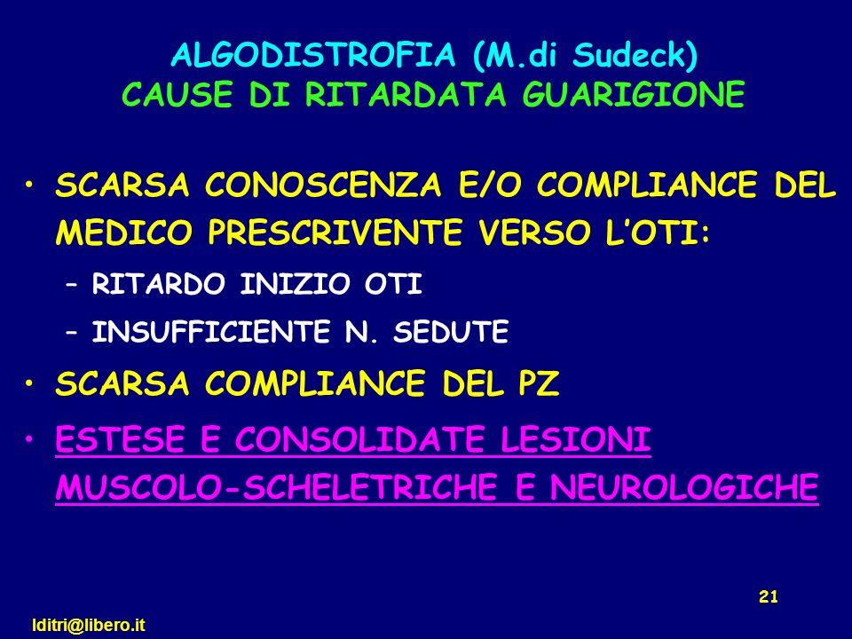 lditri@libero.it 21 SCARSA CONOSCENZA E/O COMPLIANCE DEL MEDICO PRESCRIVENTE VERSO LOTI: –RITARDO INIZIO OTI –INSUFFICIENTE N. SEDUTE SCARSA COMPLIANC