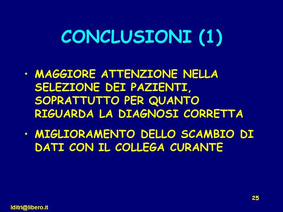 lditri@libero.it 25 CONCLUSIONI (1) MAGGIORE ATTENZIONE NELLA SELEZIONE DEI PAZIENTI, SOPRATTUTTO PER QUANTO RIGUARDA LA DIAGNOSI CORRETTA MIGLIORAMEN