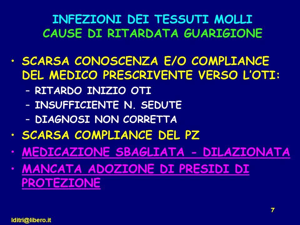 lditri@libero.it 18 SCARSA CONOSCENZA E/O COMPLIANCE DEL MEDICO PRESCRIVENTE VERSO LOTI: –RITARDO INIZIO OTI –INSUFFICIENTE N.
