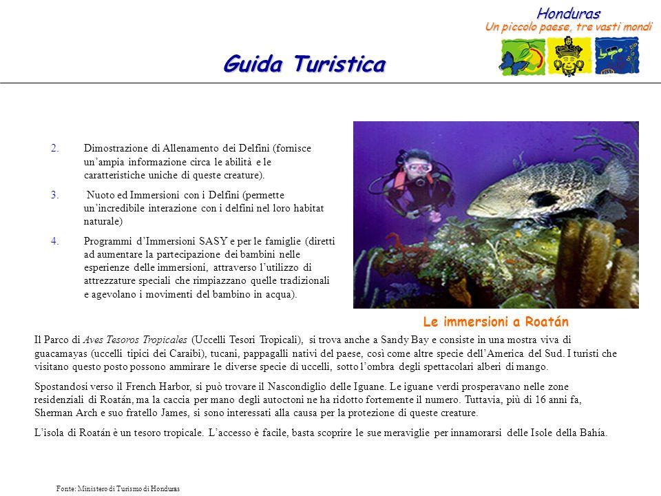 Honduras Un piccolo paese, tre vasti mondi Guida Turistica Fonte: Ministero di Turismo di Honduras 2.Dimostrazione di Allenamento dei Delfini (fornisc