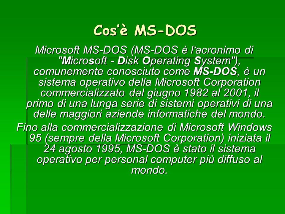 Cosè MS-DOS Microsoft MS-DOS (MS-DOS è lacronimo di
