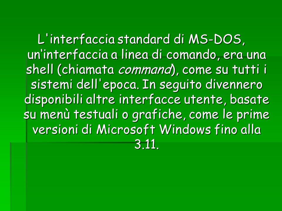 L'interfaccia standard di MS-DOS, uninterfaccia a linea di comando, era una shell (chiamata command), come su tutti i sistemi dell'epoca. In seguito d