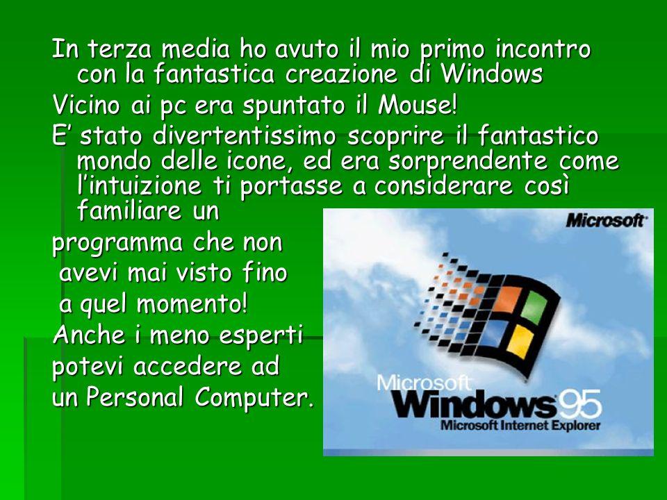 In terza media ho avuto il mio primo incontro con la fantastica creazione di Windows Vicino ai pc era spuntato il Mouse! E stato divertentissimo scopr
