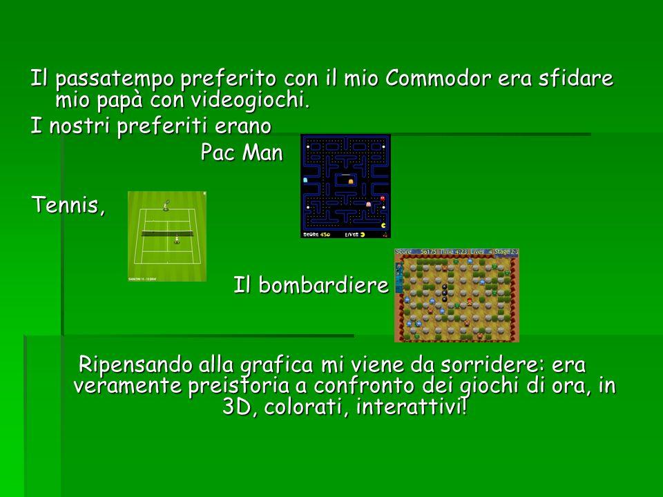 Il passatempo preferito con il mio Commodor era sfidare mio papà con videogiochi. I nostri preferiti erano Pac Man Pac Man Tennis, Il bombardiere Il b
