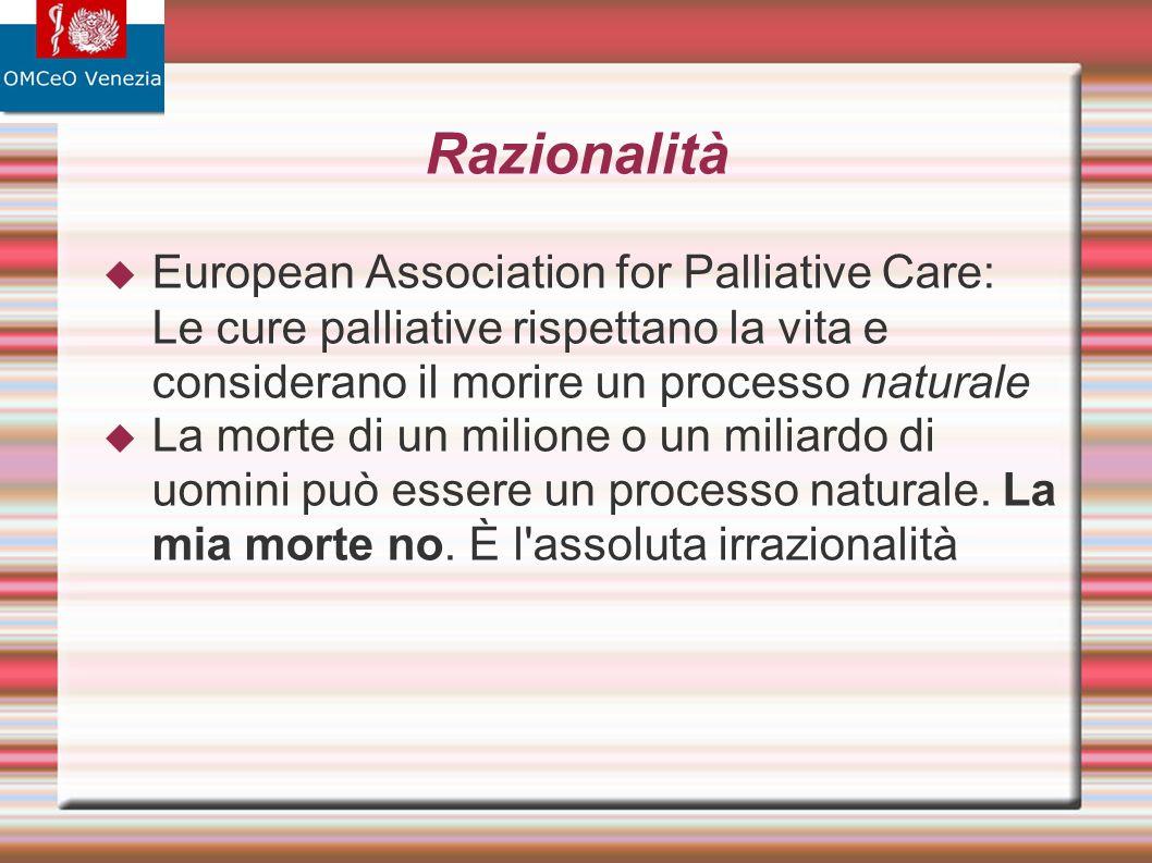 Razionalità European Association for Palliative Care: Le cure palliative rispettano la vita e considerano il morire un processo naturale La morte di un milione o un miliardo di uomini può essere un processo naturale.