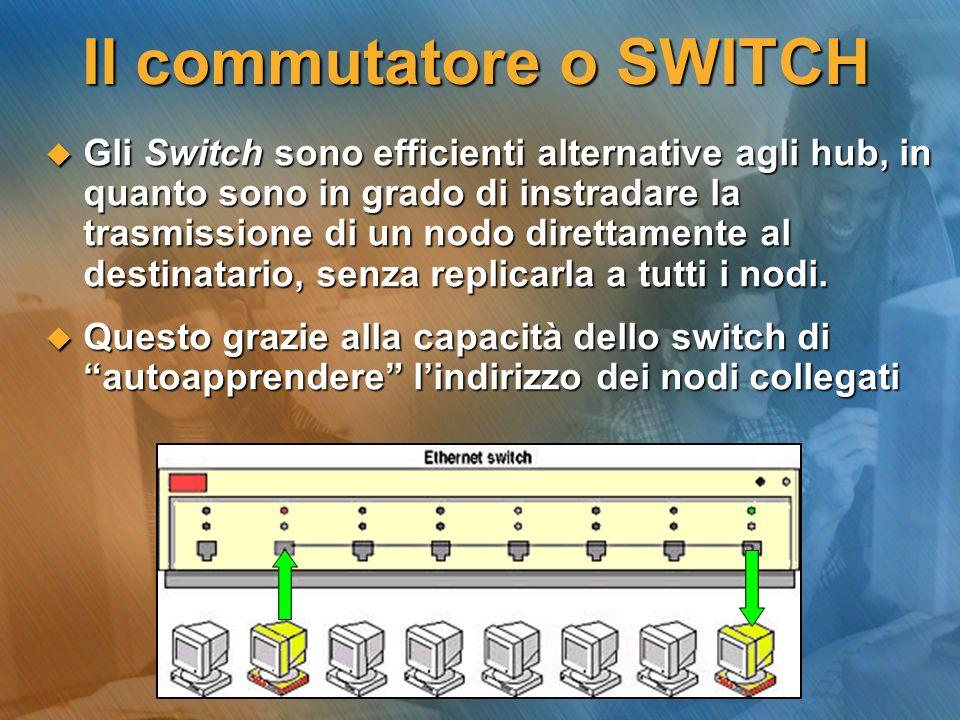 PATCH PANELS In reti formate da molti nodi (eccetto le reti con topologia a BUS), tutti i cavi vengono convogliati verso un armadio, detto anche RACK.