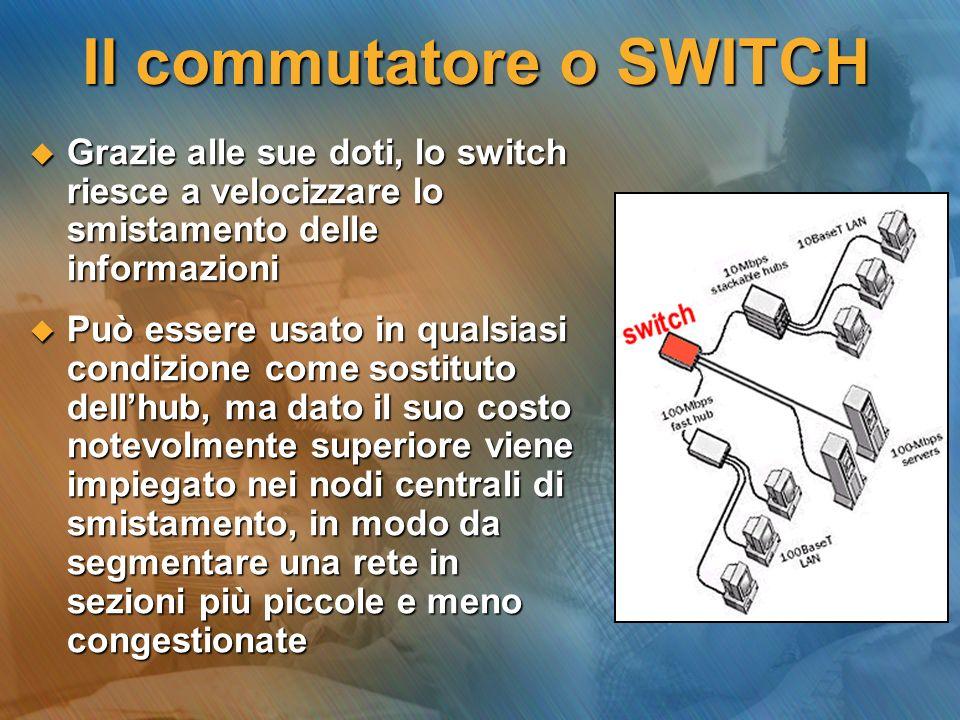 Il RIPETITORE Quando la distanza tra due punti della rete supera la misura massima consentita dal cavo, si ricorre a dei dispositivi di amplificazione e ripulitura del segnale detti Ripetitori.