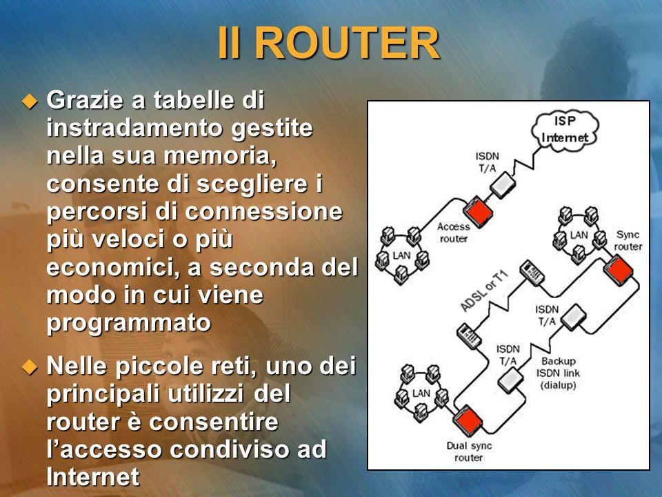 Il GATEWAY Anche questo dispositivo mette in comunicazione più reti, in questo caso dissimili per modalità operative o protocolli (es.