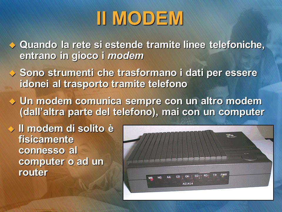 Il MODEM A seconda della linea telefonica disponibile, avremo modem: A seconda della linea telefonica disponibile, avremo modem: analogici, per la linea tradizionale (PSTN), con velocità fino a 56Kbps analogici, per la linea tradizionale (PSTN), con velocità fino a 56Kbps digitali, per la linea ISDN (fino a 128Kbps) o xDSL (attualmente fino a 640Kbps) digitali, per la linea ISDN (fino a 128Kbps) o xDSL (attualmente fino a 640Kbps) I modem analogici sono i più lenti in quanto debbono convertire il segnale da inviare (digitale) in suono (analogico) e viceversa (MODulazione-DEModulazione) I modem analogici sono i più lenti in quanto debbono convertire il segnale da inviare (digitale) in suono (analogico) e viceversa (MODulazione-DEModulazione)