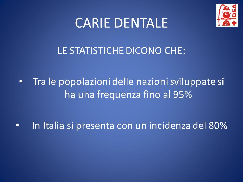 CARIE DENTALE LE STATISTICHE DICONO CHE: Tra le popolazioni delle nazioni sviluppate si ha una frequenza fino al 95% In Italia si presenta con un inci
