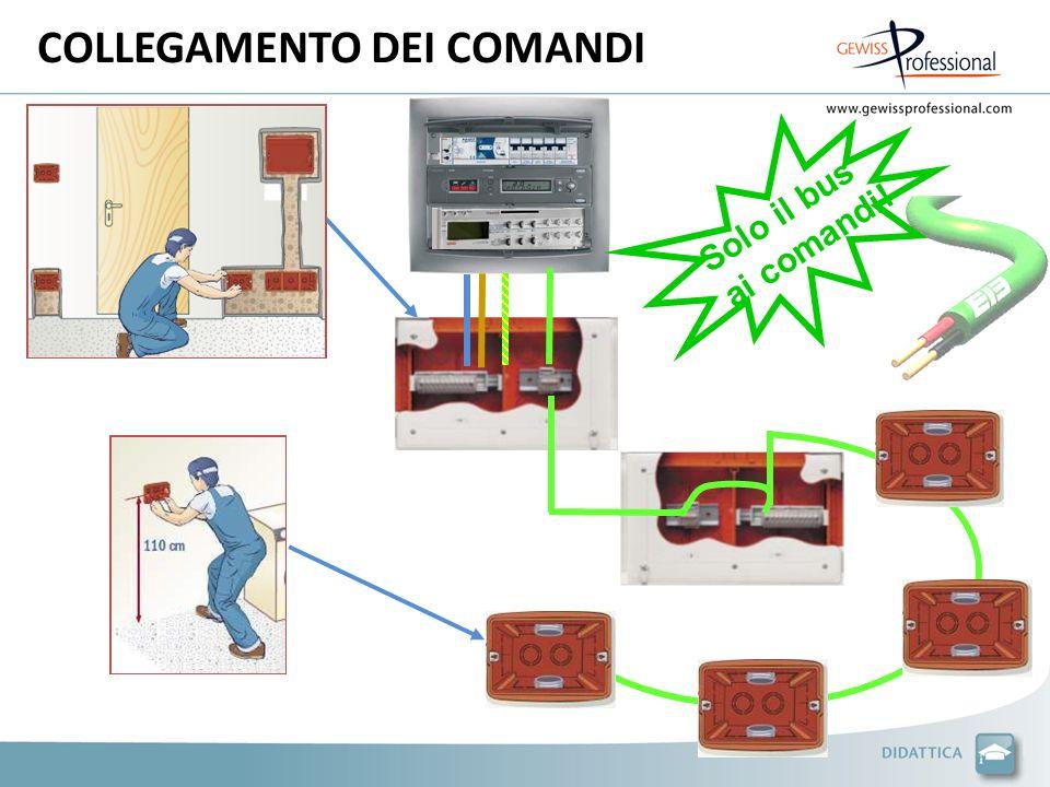 COLLEGAMENTO DEL PUNTO LUCE CAVO BUS KNX/EIB Il cavo BUS collega tutti i dispositivi di comando in parallelo.