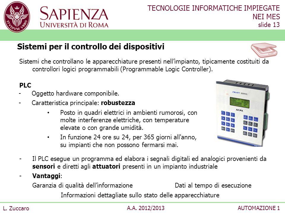 TECNOLOGIE INFORMATICHE IMPIEGATE NEI MES slide 13 L. Zuccaro A.A. 2012/2013AUTOMAZIONE 1 Sistemi che controllano le apparecchiature presenti nellimpi