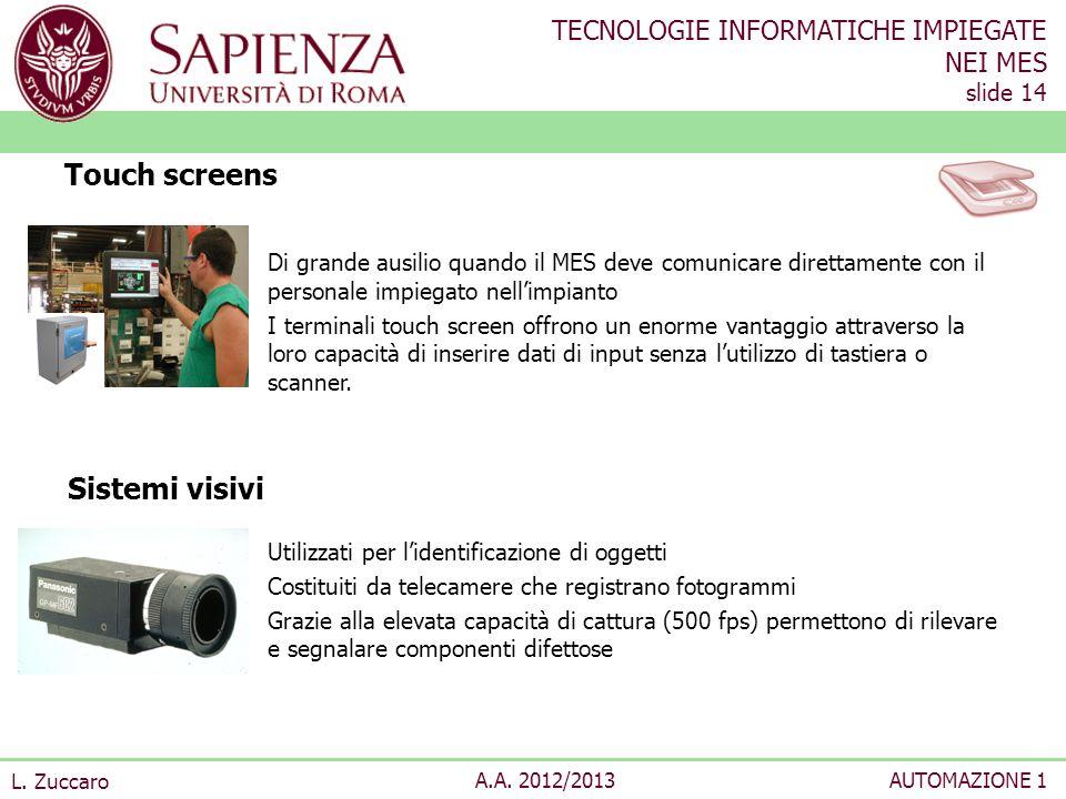 TECNOLOGIE INFORMATICHE IMPIEGATE NEI MES slide 14 L. Zuccaro A.A. 2012/2013AUTOMAZIONE 1 Di grande ausilio quando il MES deve comunicare direttamente
