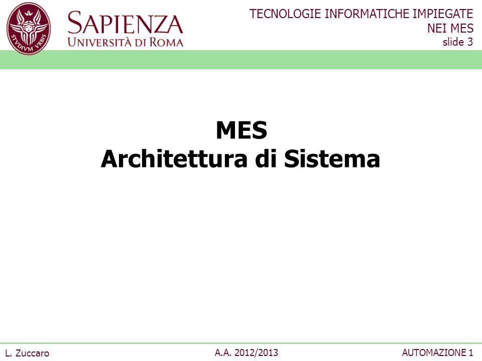 TECNOLOGIE INFORMATICHE IMPIEGATE NEI MES slide 3 L. Zuccaro A.A. 2012/2013AUTOMAZIONE 1 MES Architettura di Sistema