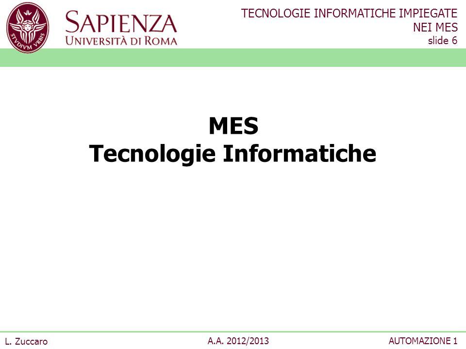 TECNOLOGIE INFORMATICHE IMPIEGATE NEI MES slide 6 L. Zuccaro A.A. 2012/2013AUTOMAZIONE 1 MES Tecnologie Informatiche