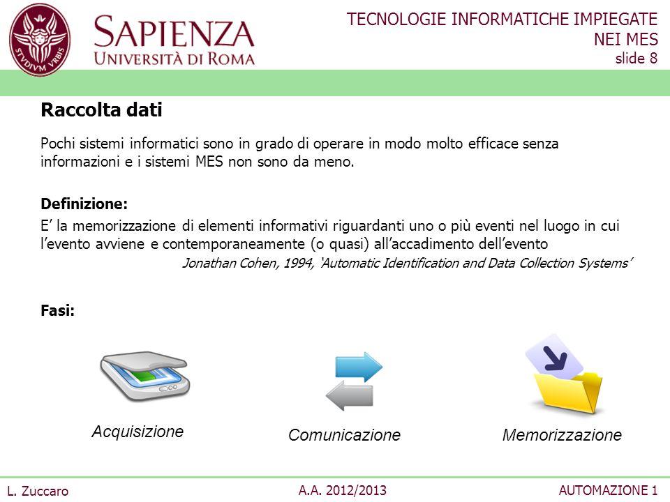 TECNOLOGIE INFORMATICHE IMPIEGATE NEI MES slide 8 L. Zuccaro A.A. 2012/2013AUTOMAZIONE 1 Pochi sistemi informatici sono in grado di operare in modo mo