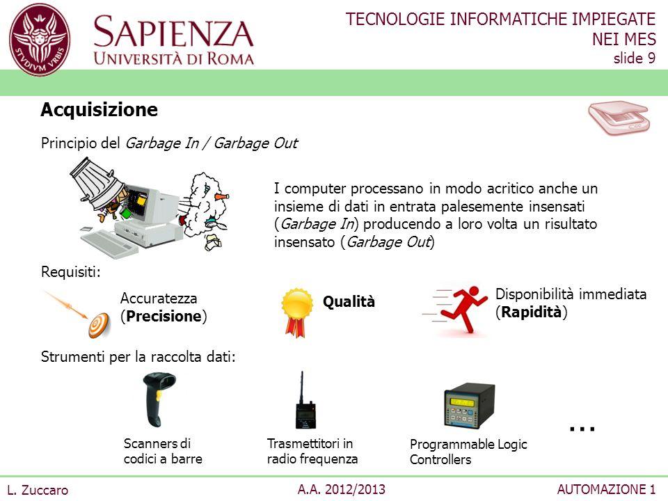TECNOLOGIE INFORMATICHE IMPIEGATE NEI MES slide 9 L. Zuccaro A.A. 2012/2013AUTOMAZIONE 1 Principio del Garbage In / Garbage Out Requisiti: Strumenti p