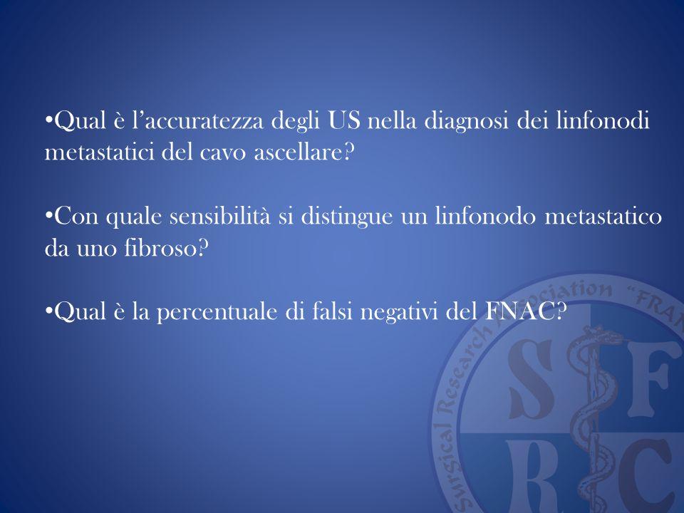 Qual è laccuratezza degli US nella diagnosi dei linfonodi metastatici del cavo ascellare? Con quale sensibilità si distingue un linfonodo metastatico