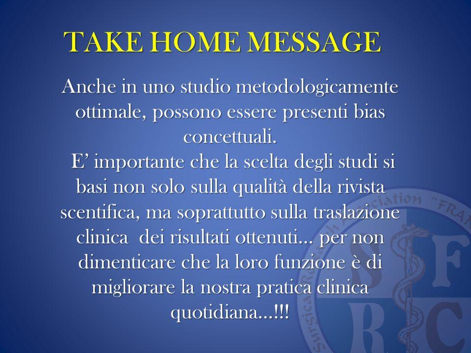 TAKE HOME MESSAGE Anche in uno studio metodologicamente ottimale, possono essere presenti bias concettuali. E importante che la scelta degli studi si