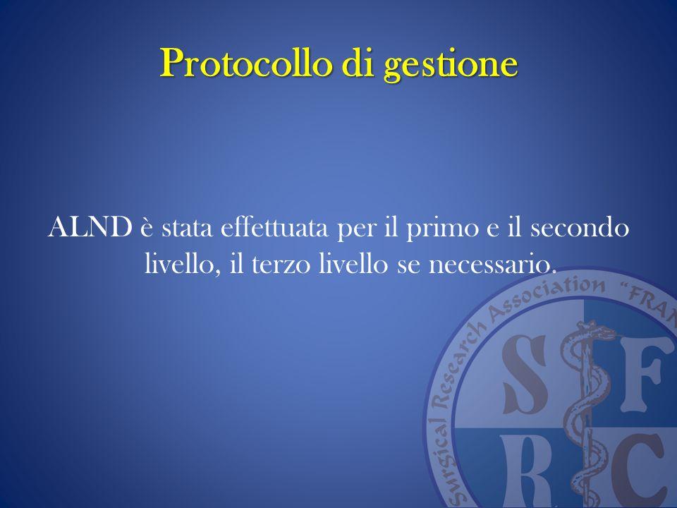 Protocollo di gestione ALND è stata effettuata per il primo e il secondo livello, il terzo livello se necessario.