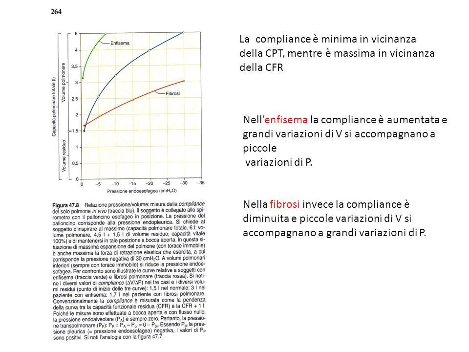 Nellenfisema la compliance è aumentata e grandi variazioni di V si accompagnano a piccole variazioni di P. Nella fibrosi invece la compliance è diminu