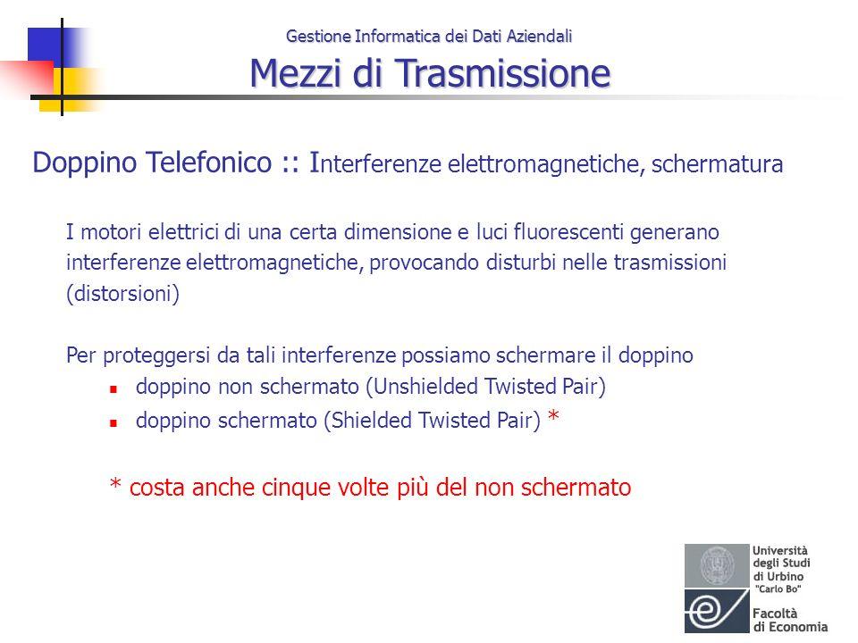 Gestione Informatica dei Dati Aziendali Mezzi di Trasmissione Doppino Telefonico :: I nterferenze elettromagnetiche, schermatura I motori elettrici di