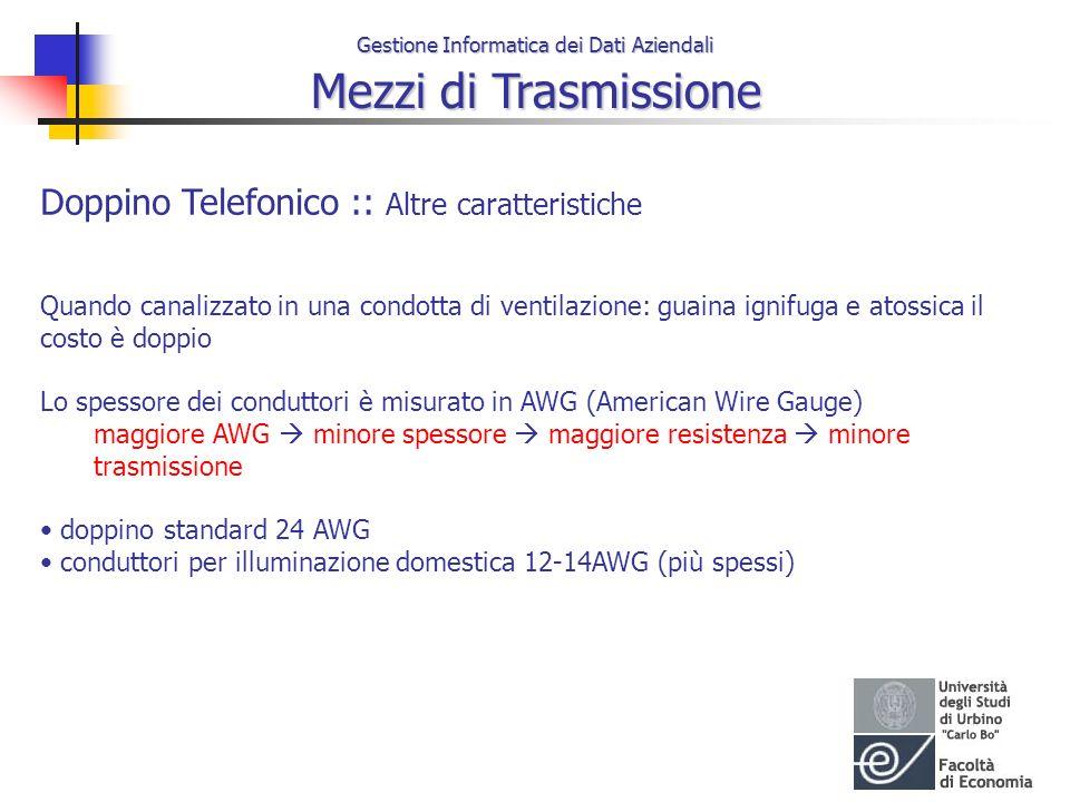 Gestione Informatica dei Dati Aziendali Mezzi di Trasmissione Doppino Telefonico :: Altre caratteristiche Quando canalizzato in una condotta di ventil