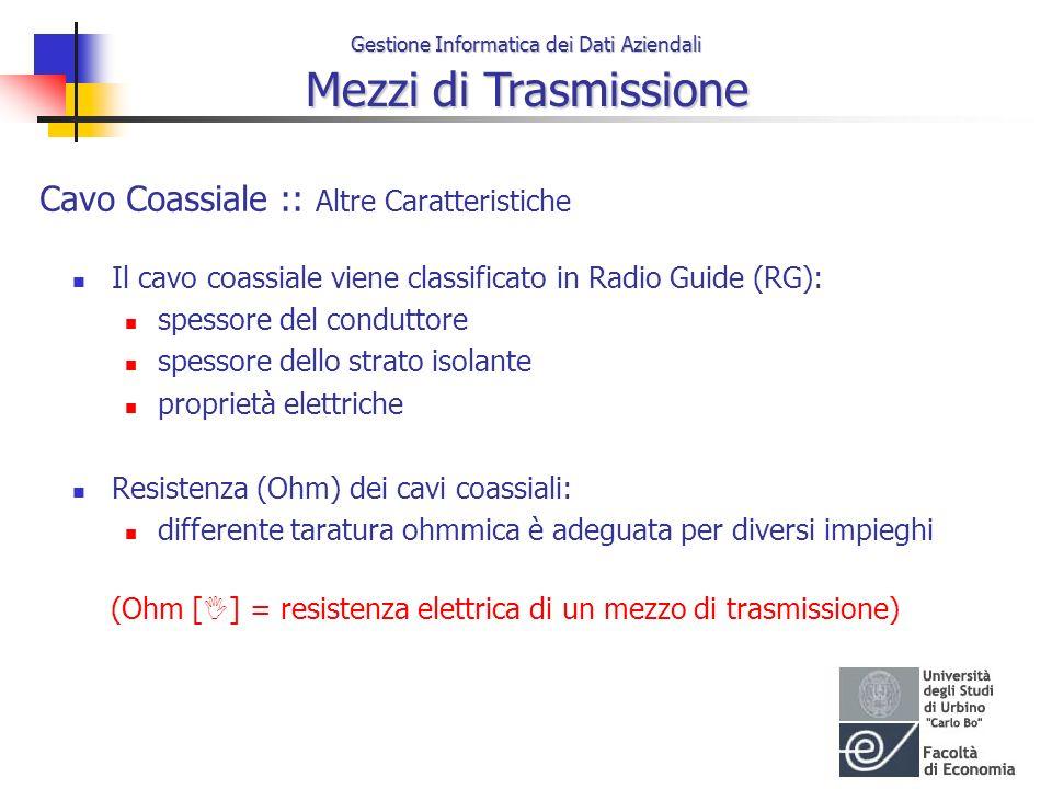 Gestione Informatica dei Dati Aziendali Mezzi di Trasmissione Cavo Coassiale :: Altre Caratteristiche Il cavo coassiale viene classificato in Radio Gu