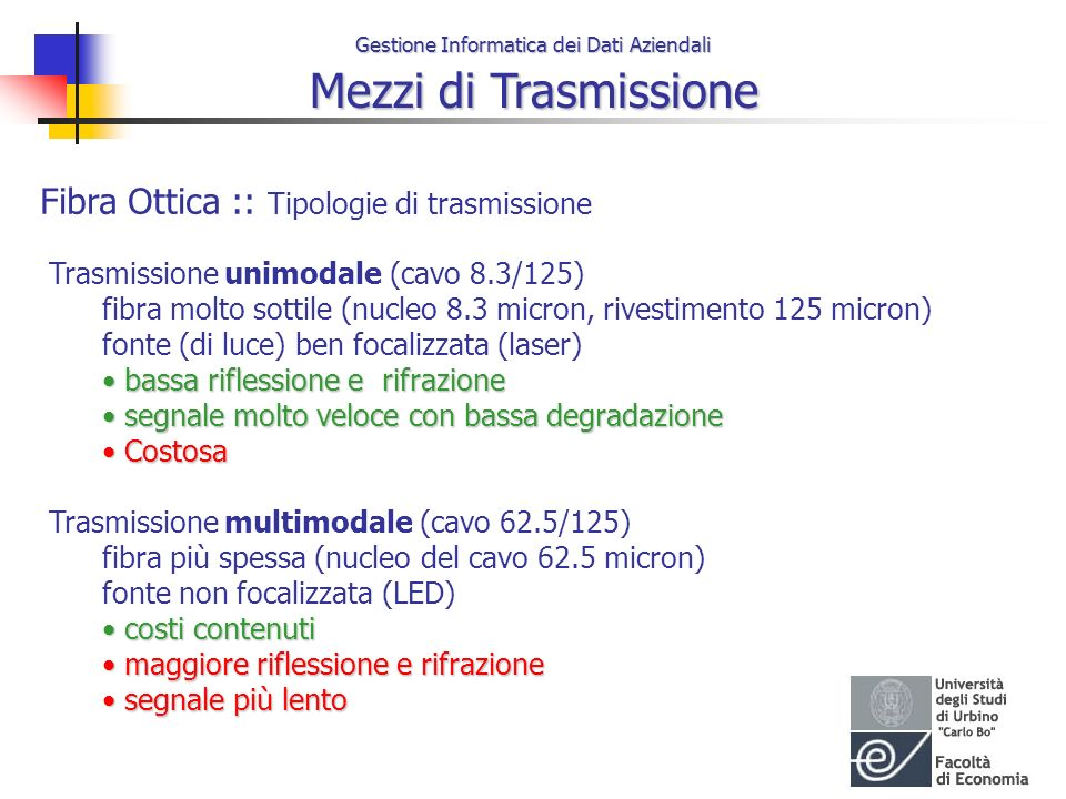 Gestione Informatica dei Dati Aziendali Mezzi di Trasmissione Fibra Ottica :: Tipologie di trasmissione Trasmissione unimodale (cavo 8.3/125) fibra mo