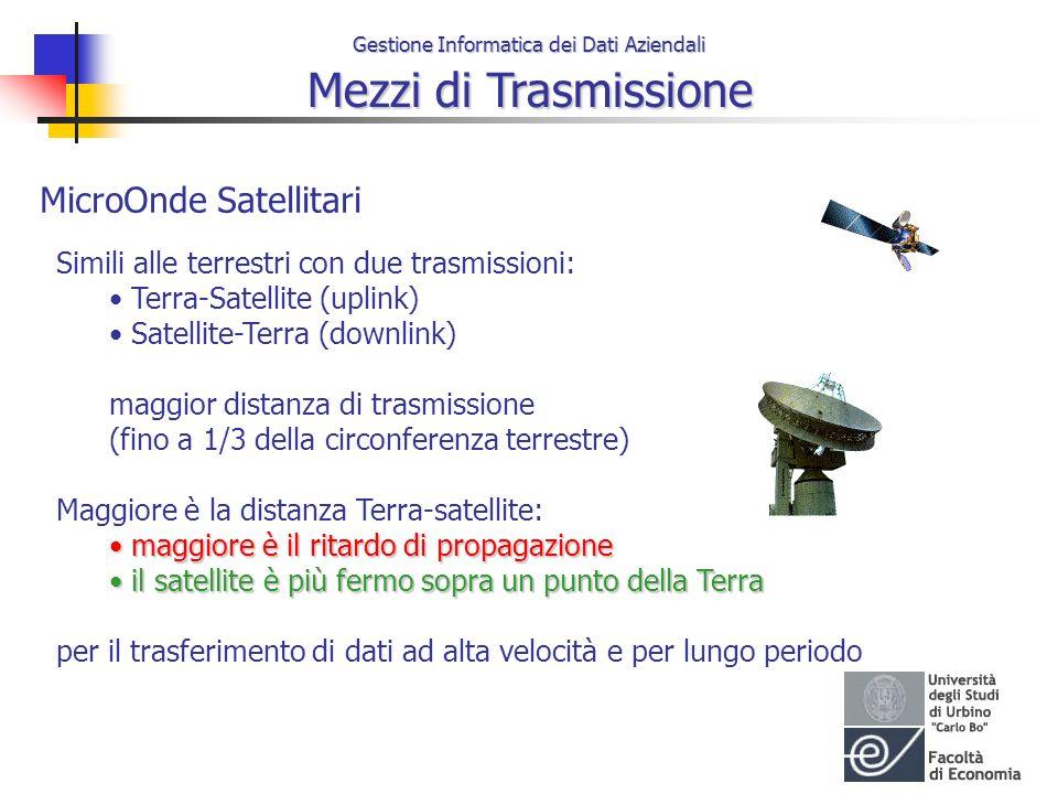 Gestione Informatica dei Dati Aziendali Mezzi di Trasmissione MicroOnde Satellitari Simili alle terrestri con due trasmissioni: Terra-Satellite (uplin