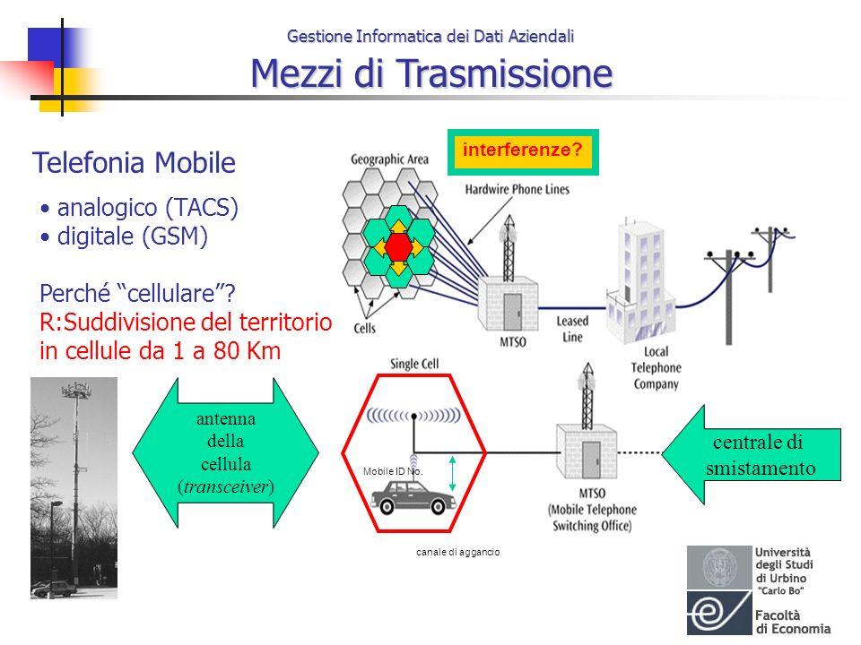 Gestione Informatica dei Dati Aziendali Mezzi di Trasmissione Telefonia Mobile analogico (TACS) digitale (GSM) Perché cellulare? R:Suddivisione del te