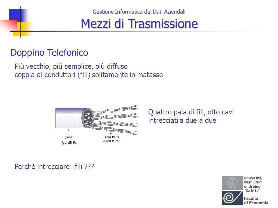 Gestione Informatica dei Dati Aziendali Mezzi di Trasmissione Doppino Telefonico Più vecchio, più semplice, più diffuso coppia di conduttori (fili) so