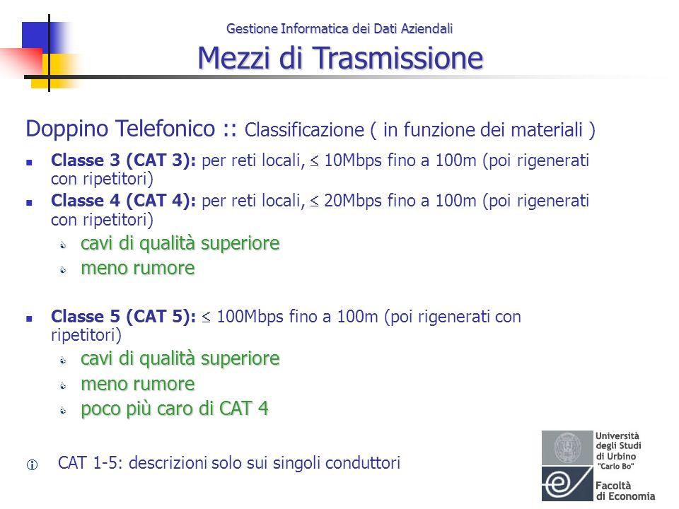 Gestione Informatica dei Dati Aziendali Mezzi di Trasmissione Doppino Telefonico :: Classificazione ( in funzione dei materiali ) Classe 3 (CAT 3): pe