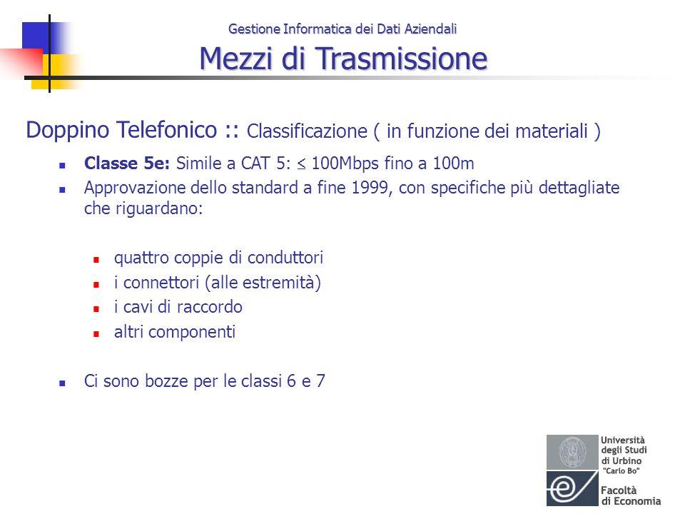 Gestione Informatica dei Dati Aziendali Mezzi di Trasmissione Doppino Telefonico :: Classificazione ( in funzione dei materiali ) Classe 5e: Simile a
