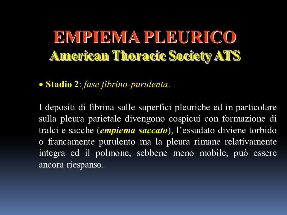 EMPIEMA PLEURICO American Thoracic Society ATS EMPIEMA PLEURICO American Thoracic Society ATS Stadio 2: fase fibrino-purulenta. I depositi di fibrina