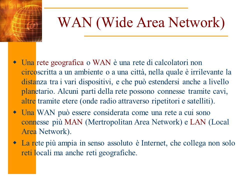 WAN (Wide Area Network) Una rete geografica o WAN è una rete di calcolatori non circoscritta a un ambiente o a una città, nella quale è irrilevante la