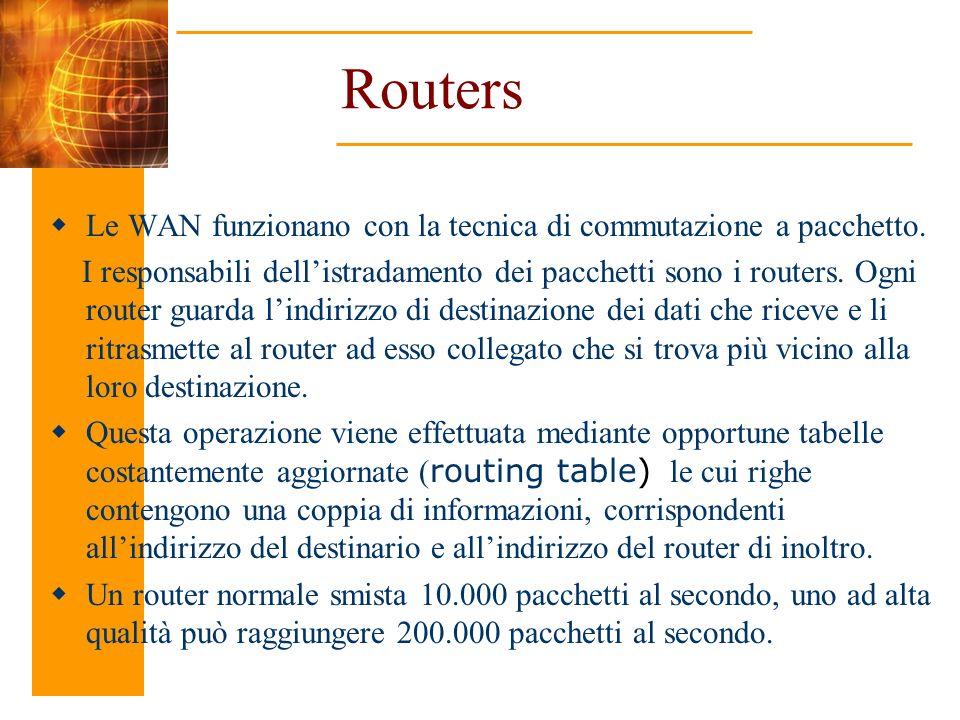 Routers Le WAN funzionano con la tecnica di commutazione a pacchetto. I responsabili dellistradamento dei pacchetti sono i routers. Ogni router guarda