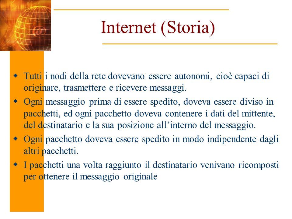 Internet (Storia) Tutti i nodi della rete dovevano essere autonomi, cioè capaci di originare, trasmettere e ricevere messaggi. Ogni messaggio prima di