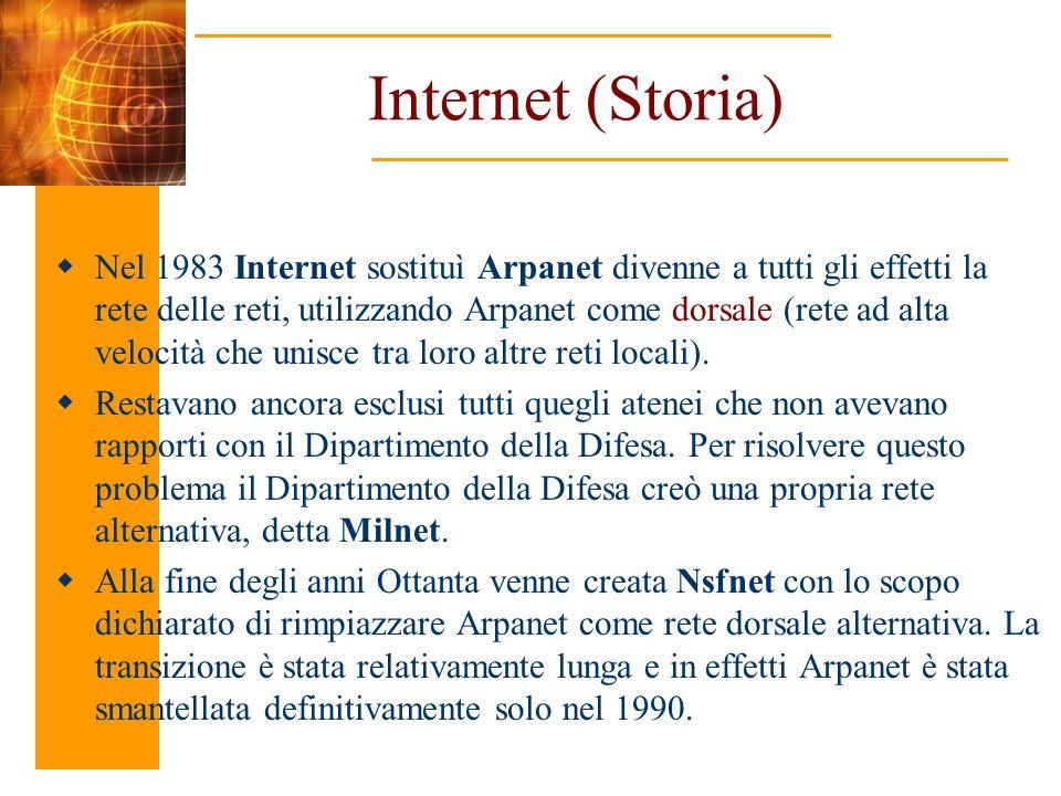 Internet (Storia) Nel 1983 Internet sostituì Arpanet divenne a tutti gli effetti la rete delle reti, utilizzando Arpanet come dorsale (rete ad alta ve