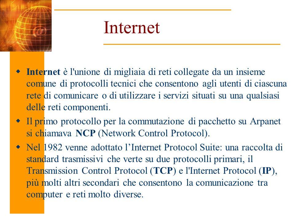 Internet Internet è l'unione di migliaia di reti collegate da un insieme comune di protocolli tecnici che consentono agli utenti di ciascuna rete di c