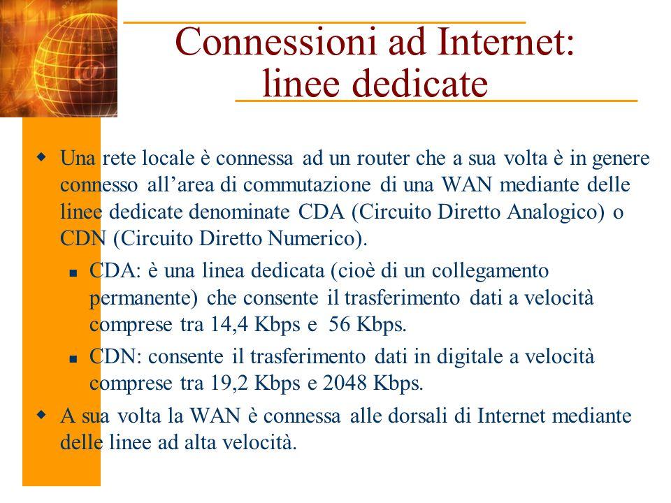 Connessioni ad Internet: linee dedicate Una rete locale è connessa ad un router che a sua volta è in genere connesso allarea di commutazione di una WA