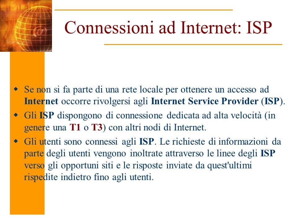 Connessioni ad Internet: ISP Se non si fa parte di una rete locale per ottenere un accesso ad Internet occorre rivolgersi agli Internet Service Provid