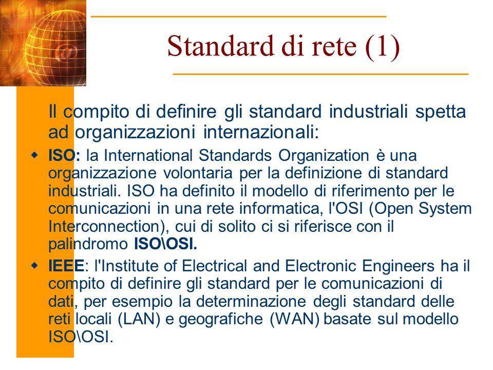 Standard di rete (1) Il compito di definire gli standard industriali spetta ad organizzazioni internazionali: ISO: la International Standards Organiza