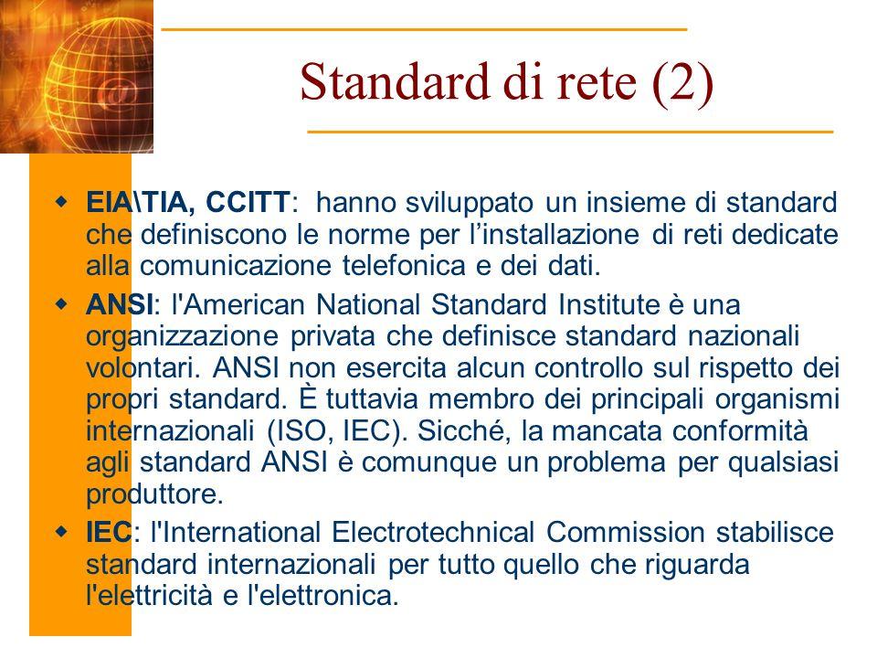 EIA\TIA, CCITT: hanno sviluppato un insieme di standard che definiscono le norme per linstallazione di reti dedicate alla comunicazione telefonica e d