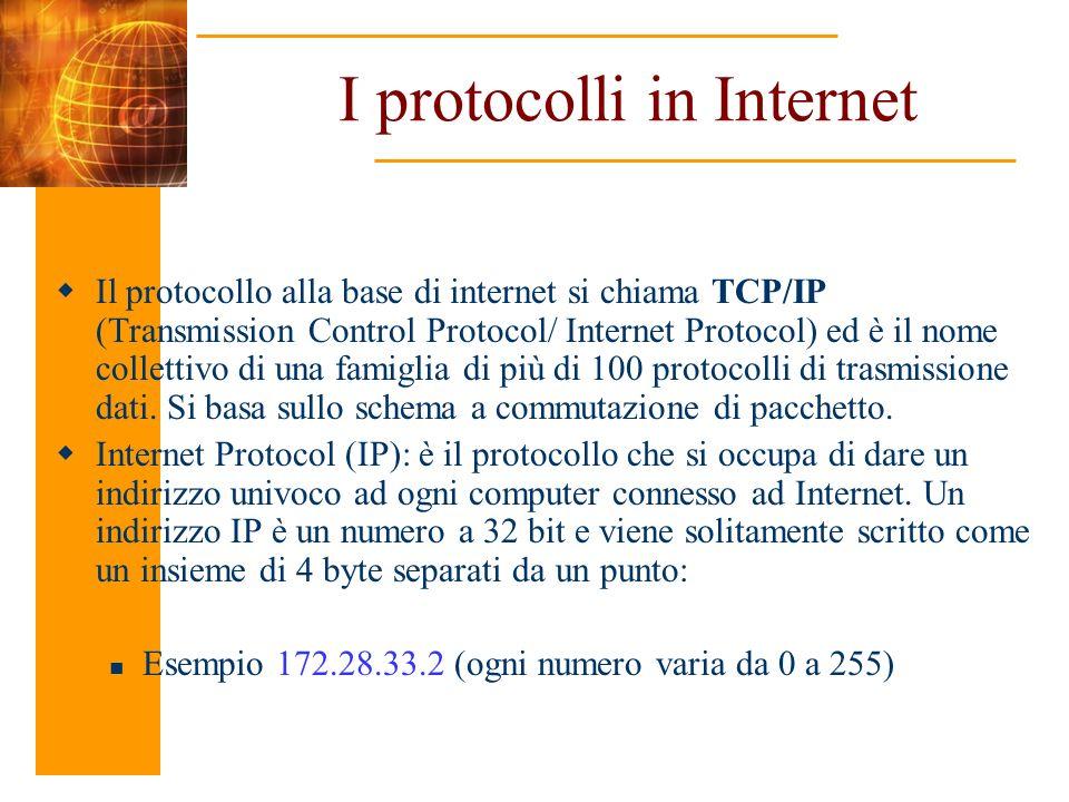 I protocolli in Internet Il protocollo alla base di internet si chiama TCP/IP (Transmission Control Protocol/ Internet Protocol) ed è il nome colletti