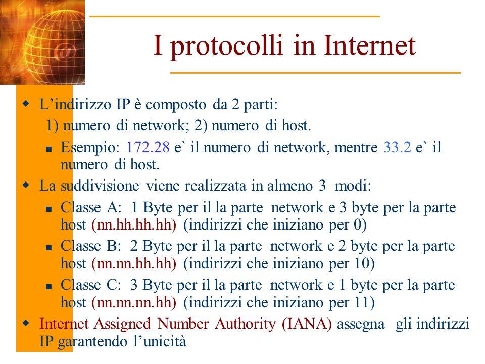 I protocolli in Internet Lindirizzo IP è composto da 2 parti: 1) numero di network; 2) numero di host. Esempio: 172.28 e` il numero di network, mentre